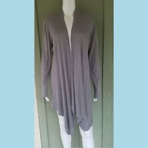 EILEEN FISHER Gray Open Front Cascade Cardigan M